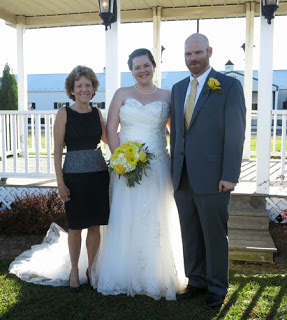 The bride, groom and I after the chemistry experiment-that is, the wedding