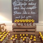 Honey display at wedding reception--gifts for the guests