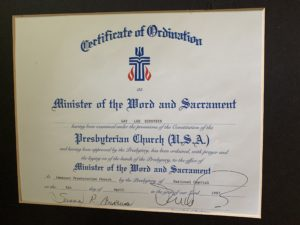 My Certificate of Ordination